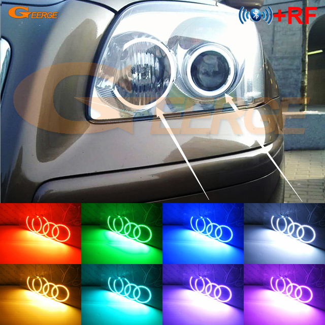 Excellent RF remote Bluetooth APP Multi Color Ultra bright RGB LED Angel Eyes For Toyota Avensis T25 2003 2004 2005 pre facelift