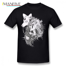Mononoke T Shirt Princess Ghibli Studio T-Shirt Short Sleeves Male Tee Cotton Beach Print Awesome Tshirt