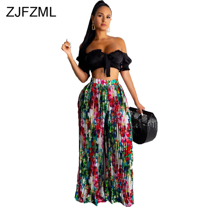 Painted Print Pleated   Wide     Leg     Pants   Women High Waist Loose Plus Size Summer Trousers Sexy Club Full Length Harajuku Joggers