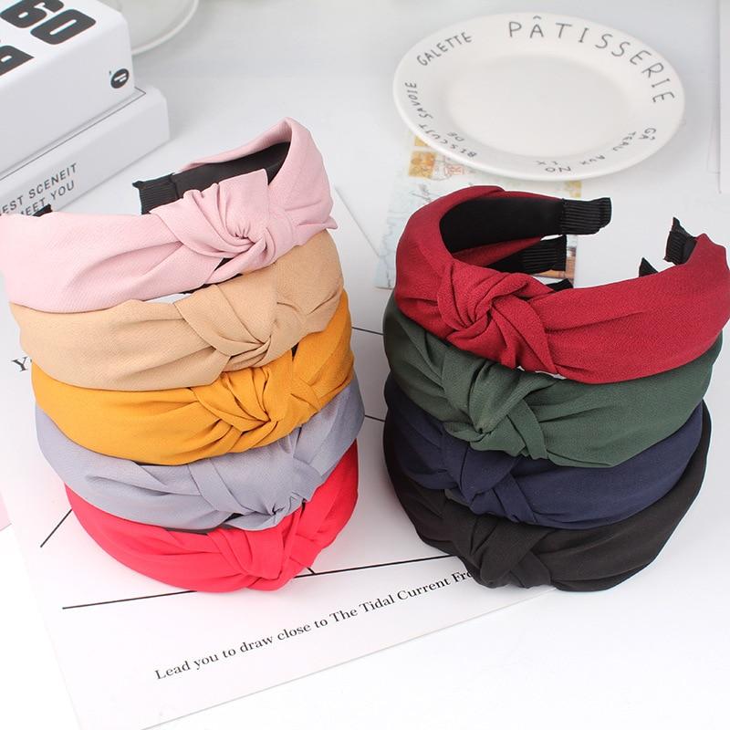 Wide Top Knot Hair Bands For Women Headdress Solid Color Cloth Headband Bezel Girls Hairband Hair Hoop Female Hair Accessories