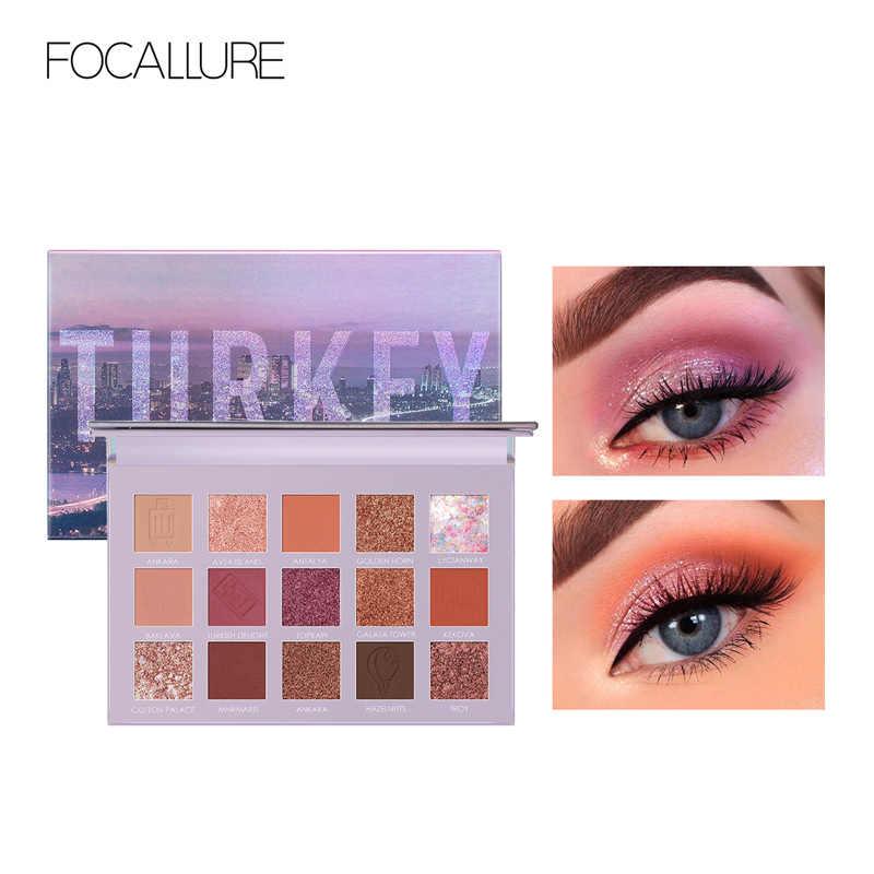 Focallure Pergi Perjalanan Glitter Eyeshadow Pallet Profesional Shimmer Powder High Pigmented Mudah untuk Memakai Eye Shadow Palet