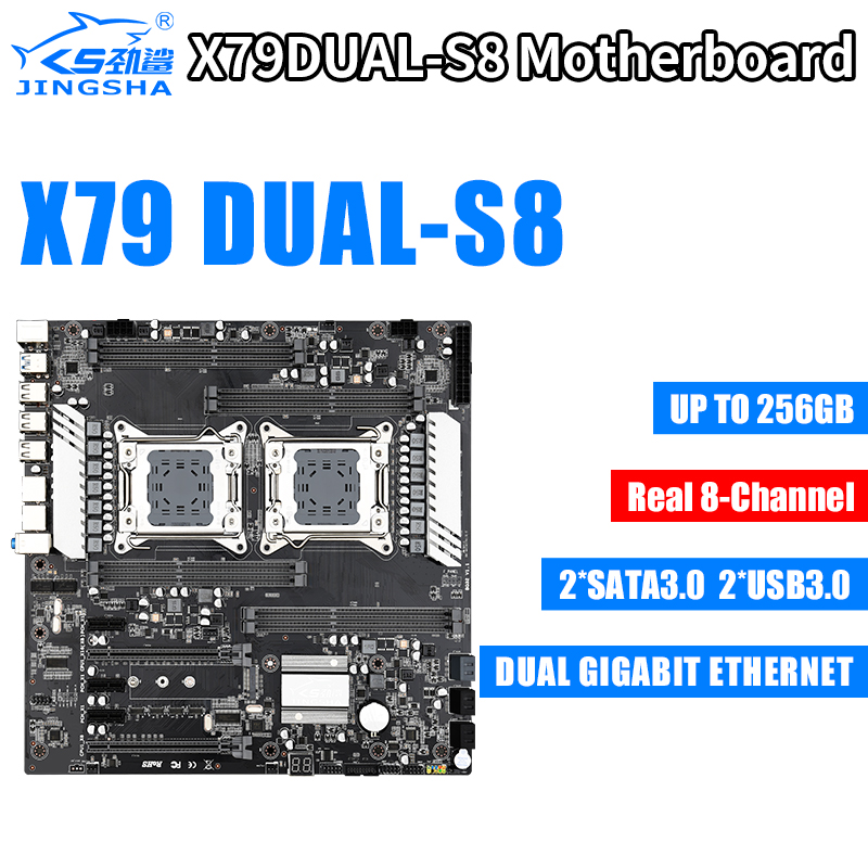 <font><b>X79</b></font> Dual S8 Motherboard Dual CPU LGA2011 <font><b>Socket</b></font> Real 8-channel Support for Intel E5 V1 / V2 DDR3 max1866MHz 256G M.2 NVME SATA3 image