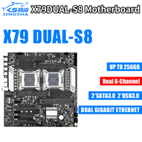 X79 Dual S8 Motherboard Dual CPU LGA2011 Socket Real 8 channel Support for Intel E5 V1 / V2 DDR3 max1866MHz 256G M.2 NVME SATA3