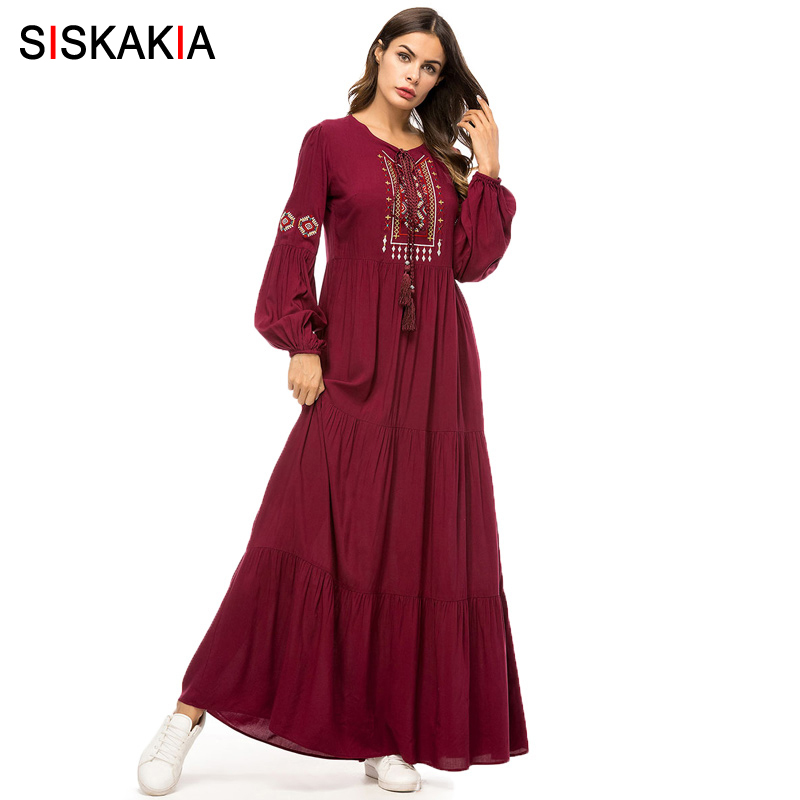 Siskakia Ethnic Geometric Embroidery Long Dress Autumn 2019 Women's Casual Maxi Dresses Long Sleeve Draped Swing Burgundy Fall