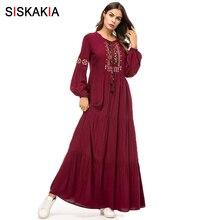 Siskakia Ethnic Geometric Embroidery Long Dress Spring Autumn Womens Casual Maxi Dresses Long Sleeve Draped Swing Burgundy