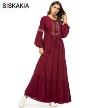 Siskakia Vestido largo de Bordado geométrico étnico para mujer, vestidos largos informales de manga larga drapeados en color Burdeos para primavera y otoño
