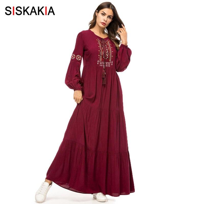 Женское платье с драпировкой и вышивкой Siskakia, длинное винтажное платье с геометрическим узором, повседневное платье бордового цвета с длинным рукавом, 2019