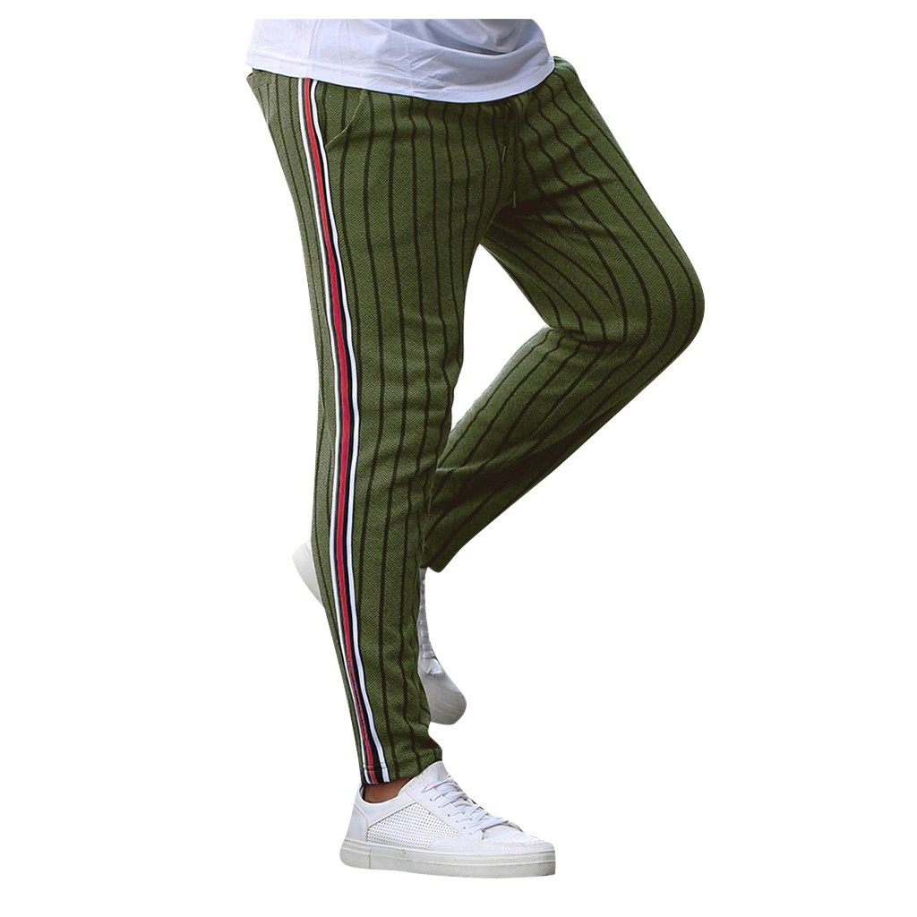 Men Casual Stripe Print Drawstring Elastic Waist Long Cargo Pants Trousers Streetwear Joggers Sweatpants Pantalon Homme