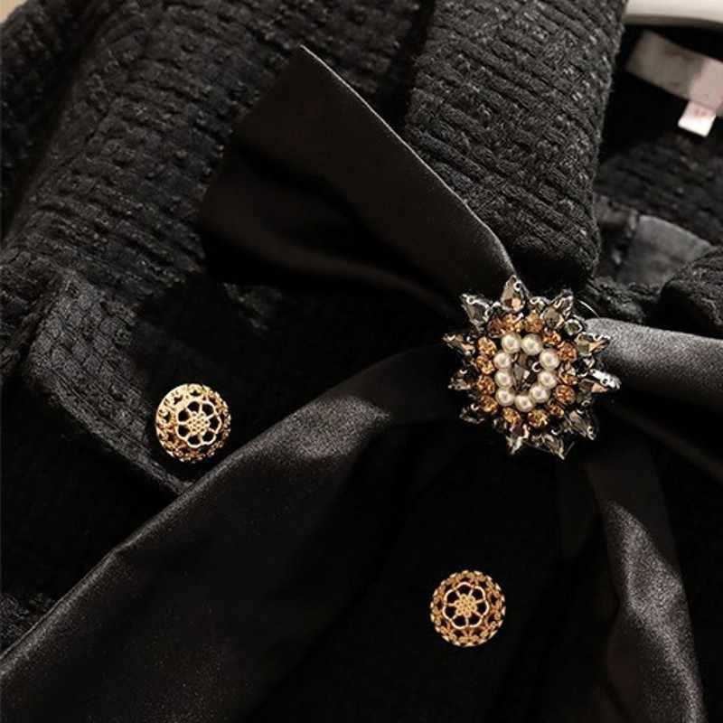 2020 Nieuwe Vrouwen Korte Jas Mini Rok Tweedelige Set Crystal Bow Tie Kwasten Outfits Slim Fit Office Dames Suits plus Size Sets
