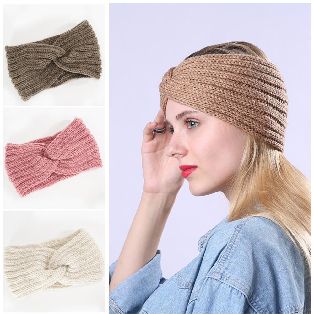 CN Girl Winter Knot Cross Knitted Headbands For Women Girls Solid Elastic Woolen Hairband Ear Warmer Hair Accessories Headwear