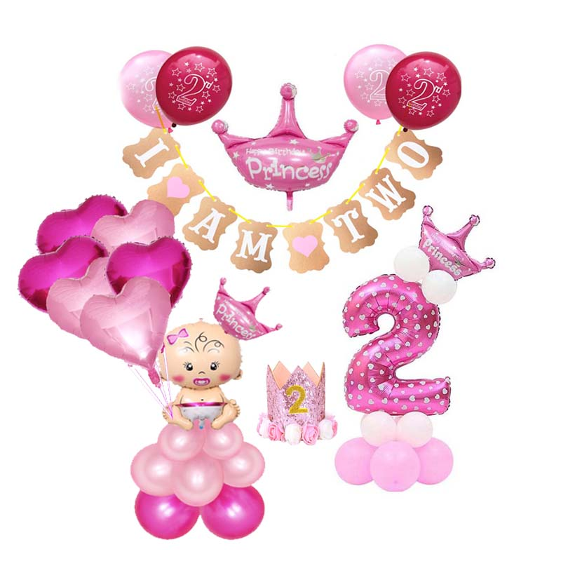 Twins Party 2 Birthday Decoration 2nd Year Old Kids Two Supplies Happy Balloon