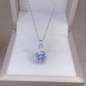 Geoki, Стерлинговое Серебро 925 пробы, прошедшее испытание бриллиантом, идеальный покрой, 1 карат, квадратное ожерелье с подвеской из моиссанита...