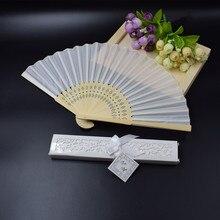 """[Auviderin] 100 pçs branco casamento ventilador de mão personalizado na caixa de presente branca com """"obrigado"""" ventilador dobrado no saco de presente"""
