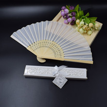 """[Auviderin] 100pcs לבן חתונה יד מאוורר אישית ב לבן אריזת מתנה עם """"תודה לך"""" תג מקופל מאוורר בשקית מתנה"""