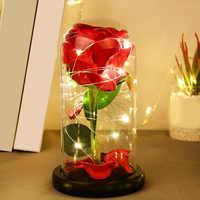 Красивая вечная роза светодиодный светильник Красавица и Чудовище Роза в стеклянном куполе на День святого Валентина матери или подарок на...