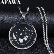 AFAWA Moon and Cat Stainless Steel Statement Necklace for Women Silver Color Chain Necklace Jewelry cadenas mujer N3294S02 2019 family stainless steel necklace women jewlery silver color dad mum and son statement necklace jewelry gargantilla n18018