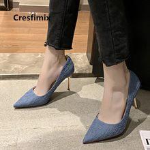 Cresfimix sapatos azuis senhoras bonito doce confortável primavera deslizamento em saltos altos feminino legal elegante festa bombas de salto alto a9013