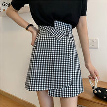 Skirts Women Plaid Irregular Office Midi Ladies A-line Ulzzang Trendy High Waist Slim Casual Female Simple Streetwear Womens New()