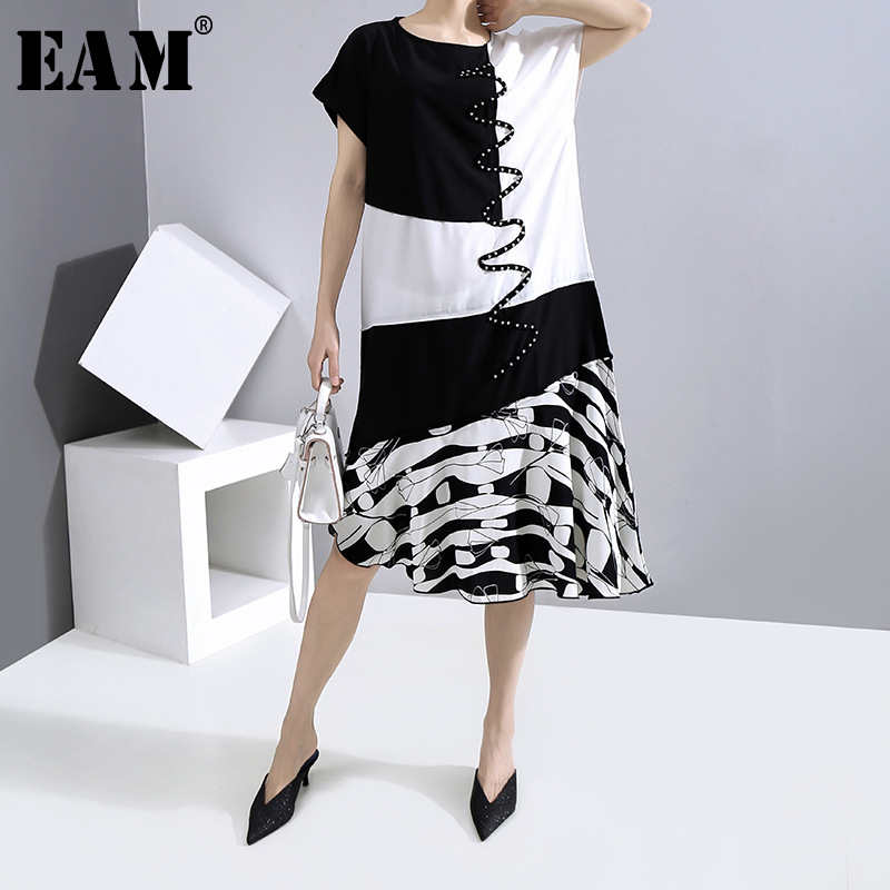 [EAM] Women Black Pattern Printed Ruffles Dress New Round Neck Short Sleeve Loose Fit Fashion Tide Spring Summer 2020 1W012