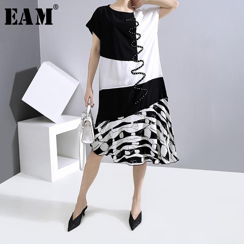 [EAM] Women Black Pattern Printed Ruffles Dress New Round Neck Short Sleeve Loose Fit Fashion Tide Spring Summer 2020 1W012