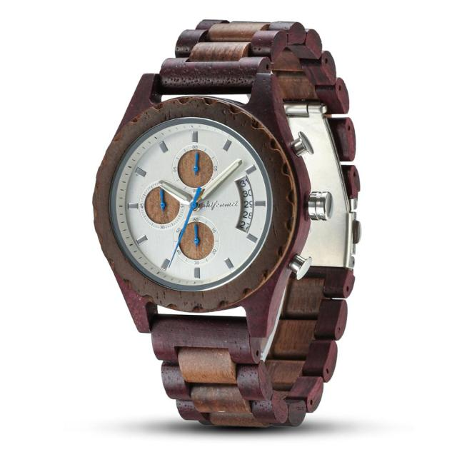 Shifenmei Wooden Watches Men 2019 Military Wooden Multi-Function Date Display Quartz Watches Top Luxury Brand relogio masculino 1