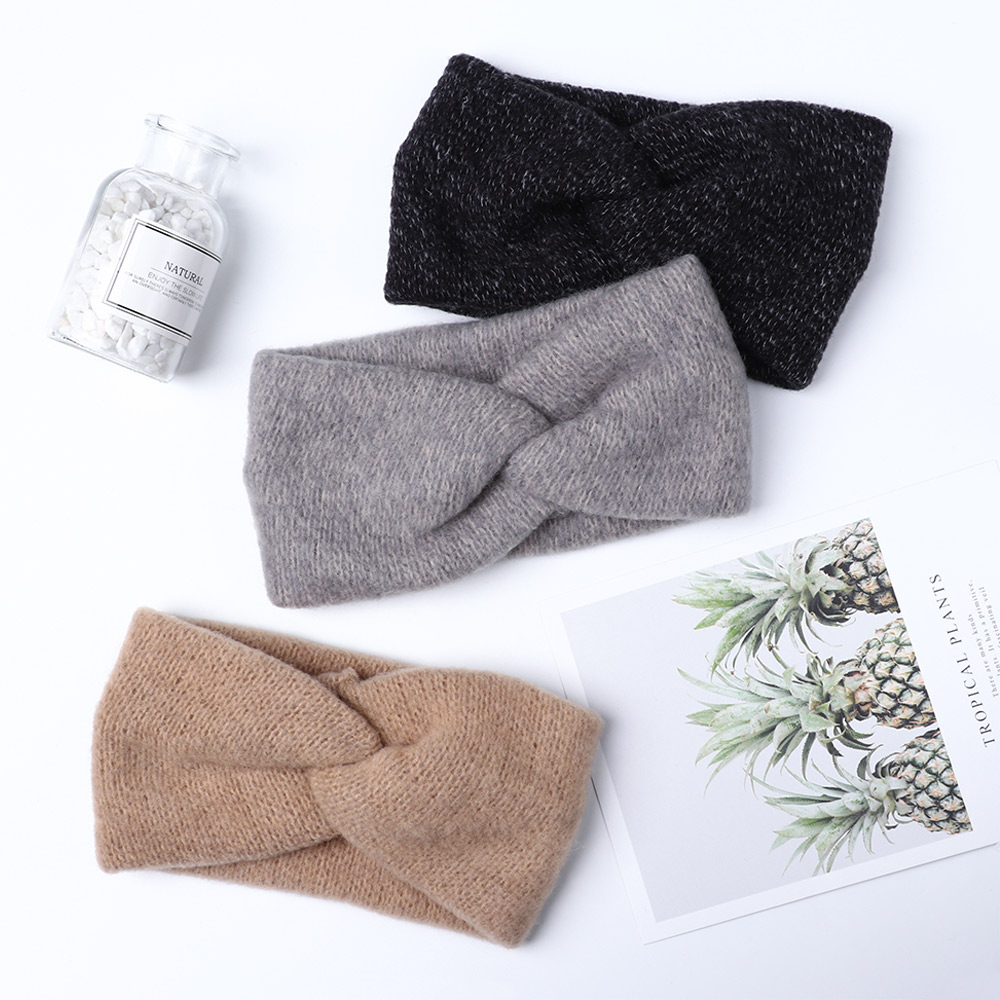 1PC Women Faux Velvet Plush Headbands Warm Cross-knotted Knitting Hairbands Female Kintted Hair Band Accessories Autumn Winter