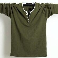2020 jesień mężczyzna T guzik do koszuli duże wysokie bawełniane koszulki z długim rękawem mężczyźni duży rozmiar luźna koszulka stałe 5xl 6xl Fit Tee Top mężczyzna
