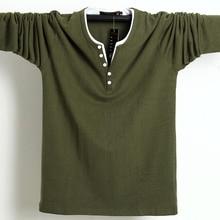 2020 秋男性tシャツボタンビッグトール綿長袖tシャツ男性ビッグサイズカジュアルtシャツ固体 5xl 6xlフィットtシャツトップ男性