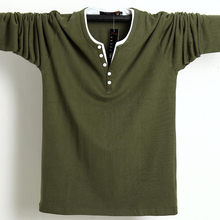 Camiseta de manga larga de algodón con botones para hombre, ropa informal de talla grande, Lisa 5xl 6xl, para otoño, 2020