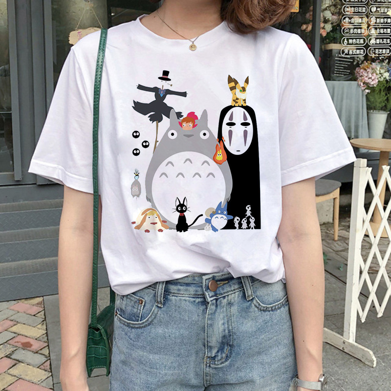 Lus Los Totoro t shirt cartoon female clothes femme Anime <font><b>Spirit</b></font> <font><b>Away</b></font> <font><b>tshirt</b></font> Studio Ghibli t-shirt Anime women Japanese image