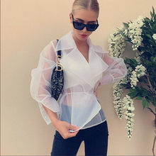 2019 Autumn Elegant Shirt Womens Chffion Sheer Sexy Puff Sleeve Lace Up Blouse Fashion Club Party Office Lady See-through Shirt(China)