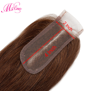 Image 3 - Straight Human Hair Bundles With 2x4 Closure Brazilian Brown Bundles With Closure Non Remy #2 #4 Mslove