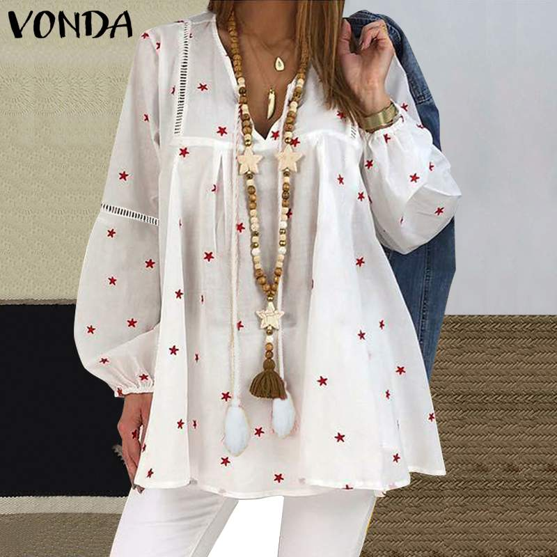 VONDA Vintage Star Printed Maternity Blouse Autumn Long Sleeve V Neck Pregnancy Shirts Casual Beach Tops Femininas Blusas 2019