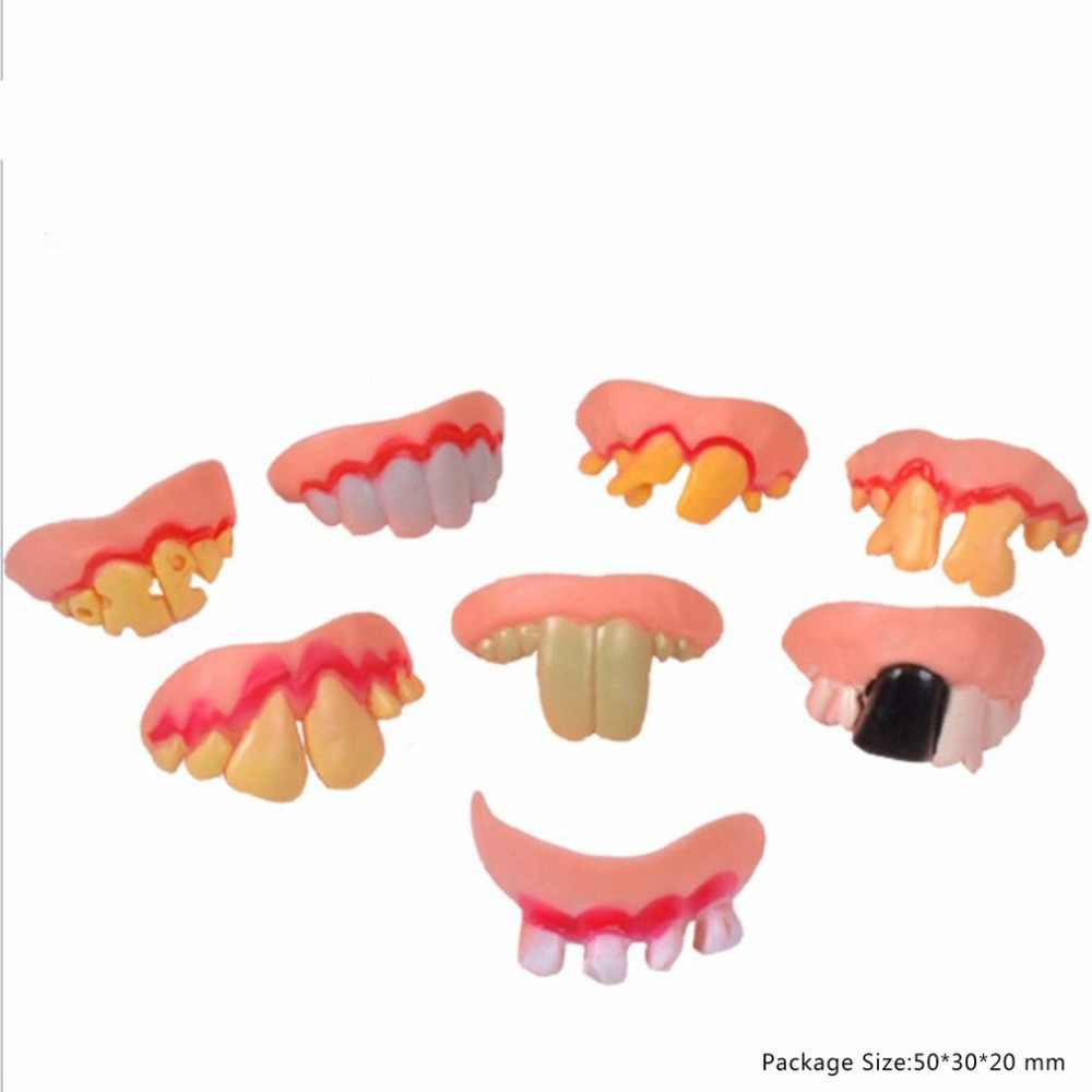 Fake Teeth Toy Funny Teeth for Vampire Zombie Halloween Dentures Cosplay Props Costume Party Decoration