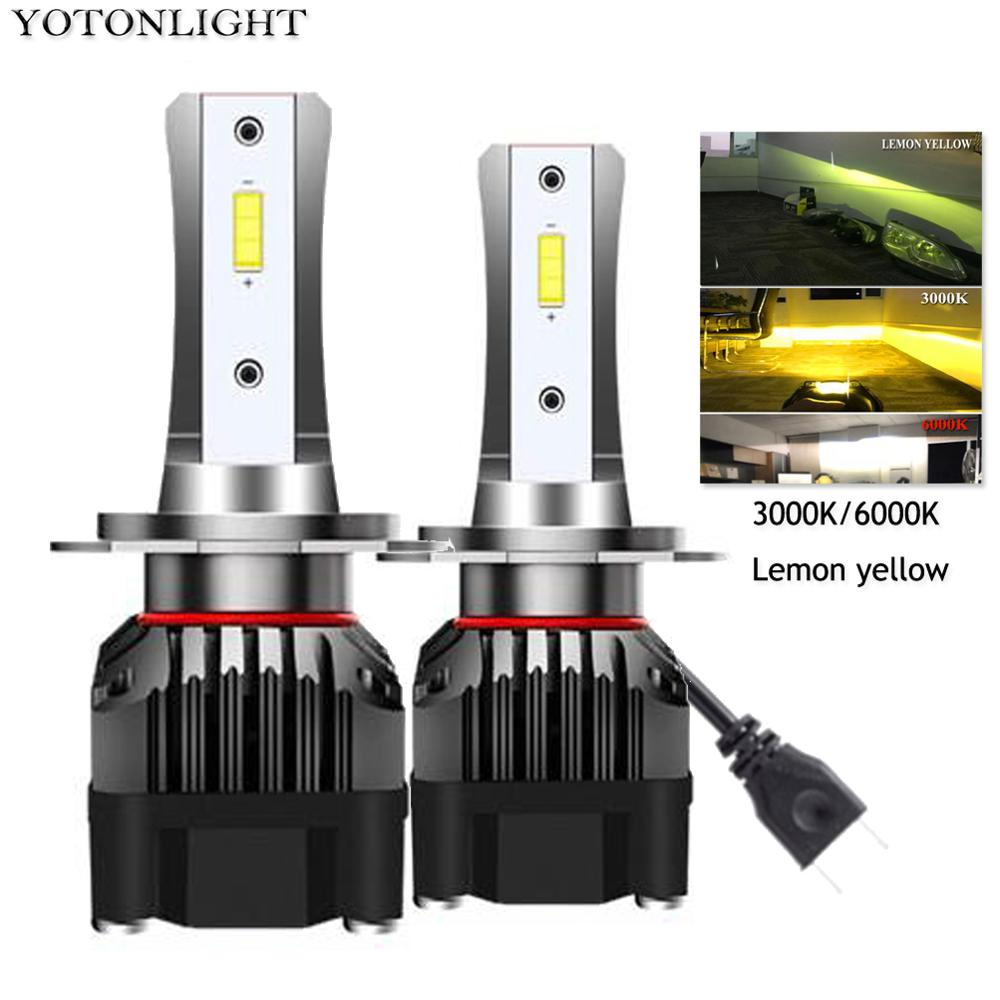 YOTONLIGHT 2 Pcs Mini <font><b>Led</b></font> H7 <font><b>H4</b></font> Headlights H11 <font><b>Led</b></font> <font><b>Bulb</b></font> 50w 10000lm 9005 <font><b>Led</b></font> Hb3 9006 Hb4 H1 Lamp 3000K 6000K Lemon <font><b>Yellow</b></font> DC12V image
