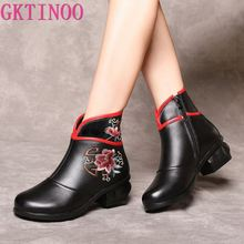 Winter Boots Genuine-Leather Round-Toe Women Ladies Ankle GKTINOO Embroider for Retro