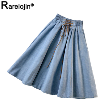 Summer Womens Skirts Korean New Women Fashion Casual Trend Solid Loose Thin Female Denim High Waist A-Line Midi Clothes