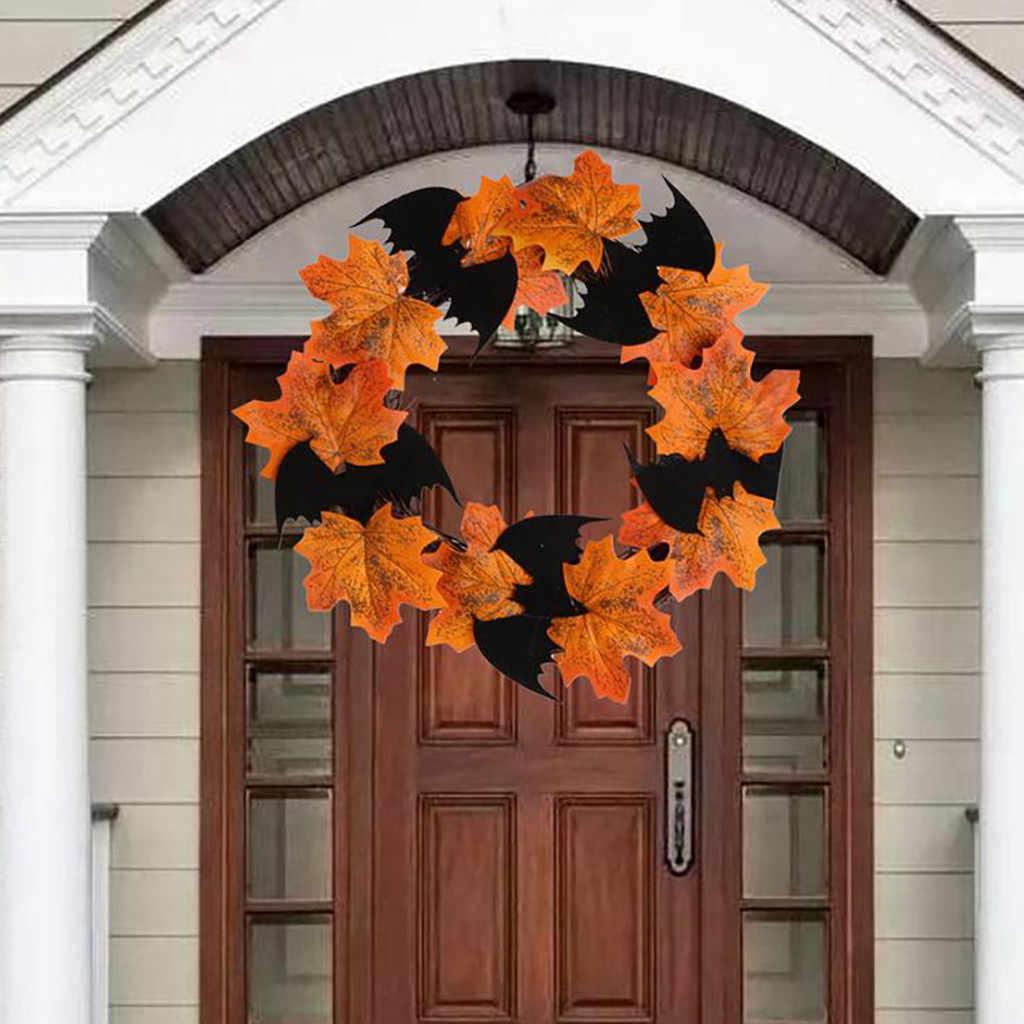 Halloween Decoration Bat Wreath Pendant Window Door Hanging Maple Leaf Wreath Party Festival DIY Decoration kwiaty sztuczne