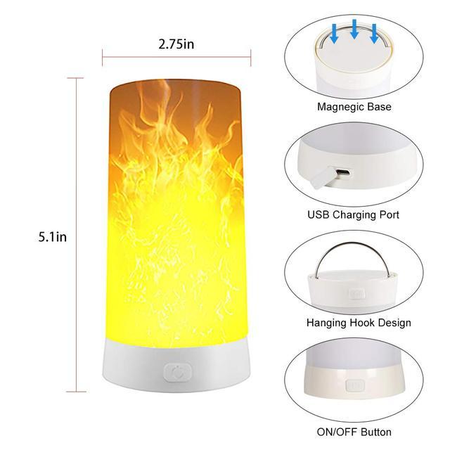 Lumière deffet de flamme de LED, lampe magnétique sans flamme dampoule de bougie avec 4 Modes, lanterne Rechargeable imperméable de flamme de scintillement dusb