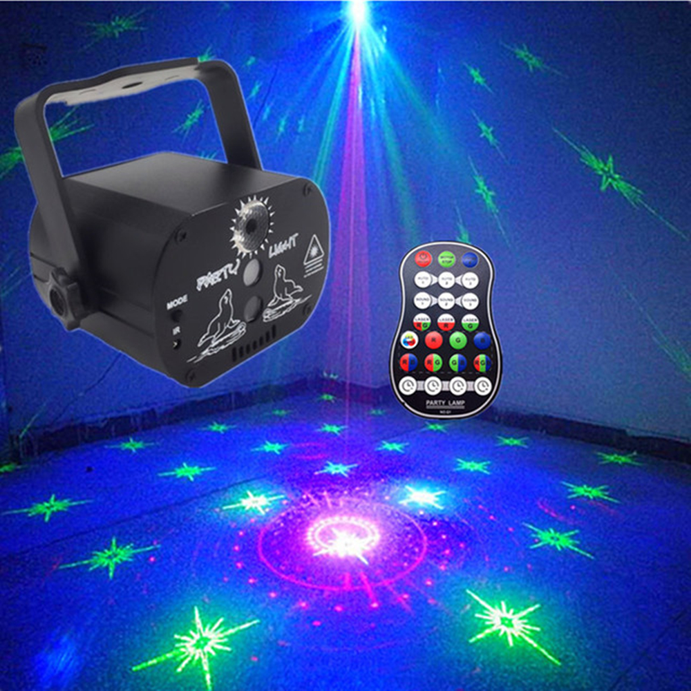 Dj Disco Light Led Laser Projector Party Light Effect Audio DJ Club Bar KTV Family Led 16 Color Stage Lighting Show With Control