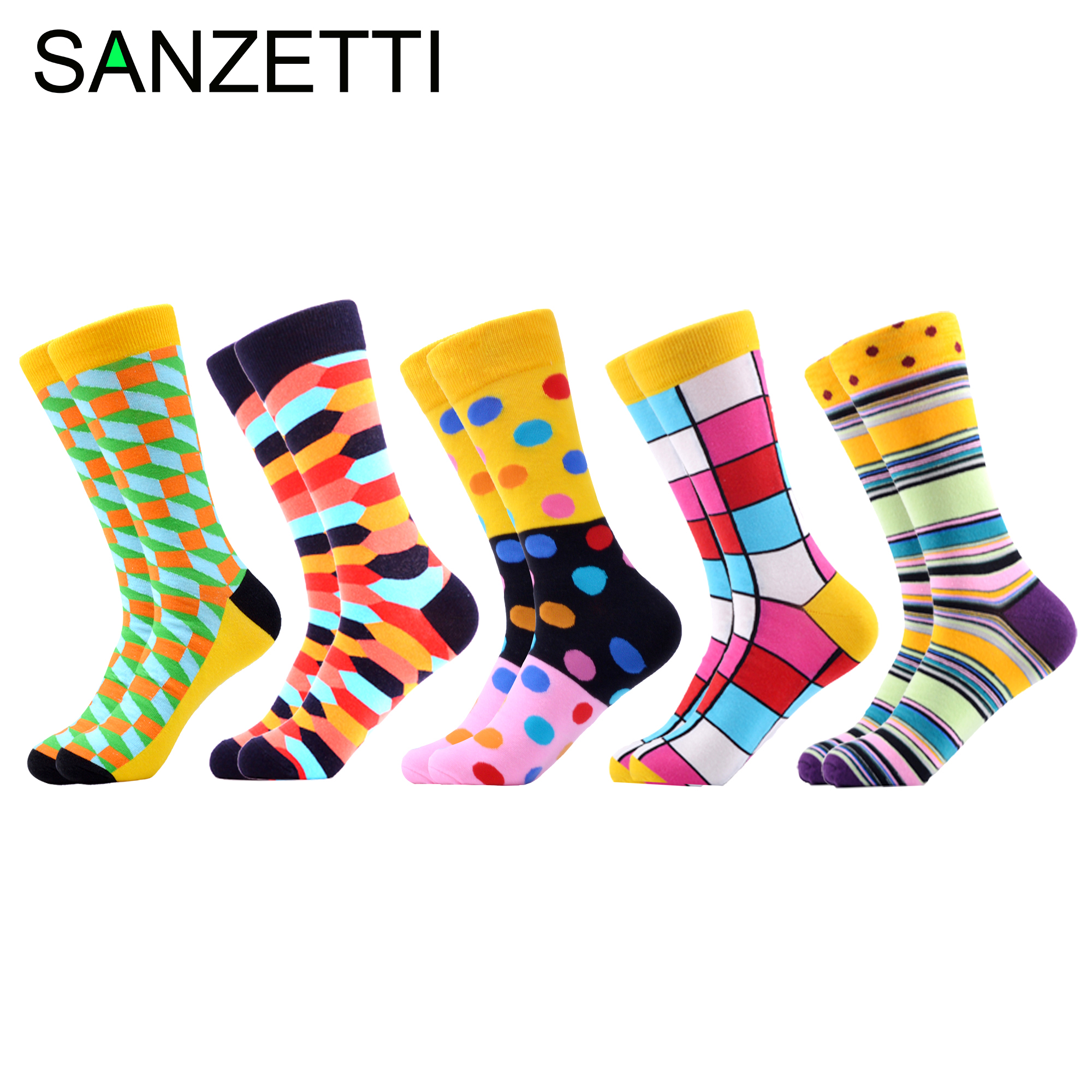 SANZETTI 5 Pairs/Lot 2020 Newest Men's Colorful Comfortable Causal Dress Skateboard Socks Geometry Pattern Funny Wedding Socks