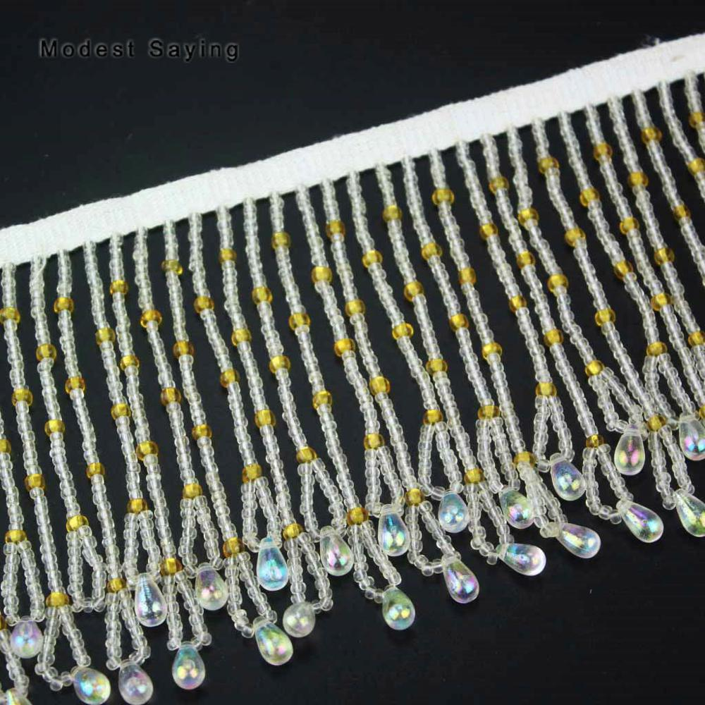 Gold 10cm Beaded Fringe Trim Ribbon Sewing Water Droplets Tassel Fringe Trimming Latin Dress Evening Gowns Garment Accessories