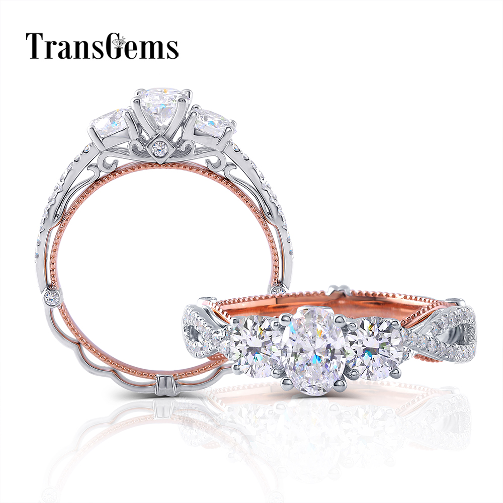 Transgems 14K 585 White And Rose Gold Main 0.6CT 4X6mm F Color Oval Moissanite 3 Stone Engagement Ring For Women With Accents