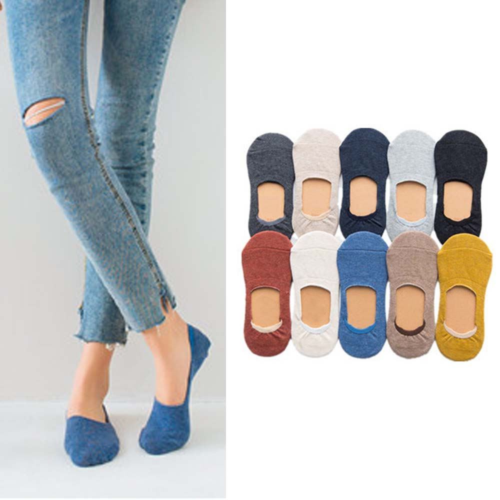 Spring Summe Casual Cotton Women Socks Solid Color Socks Slippers No Slip Socks Super Sweet Loafer Invisible Socks For Christmas