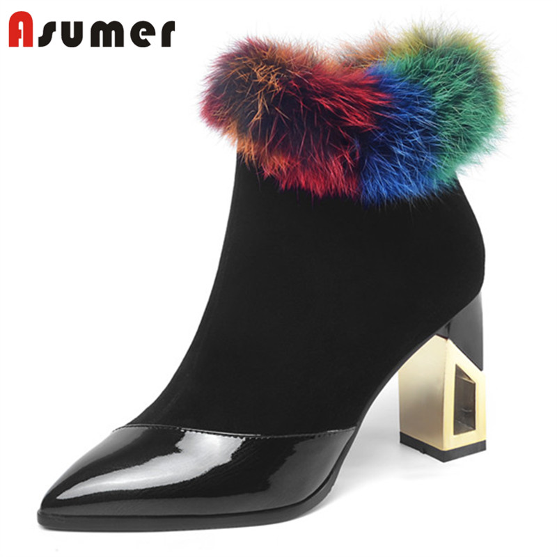 ASUMER 2020 top quality patent leather ankle boots zip high heels winter boots elegant dress party wedding shoes female