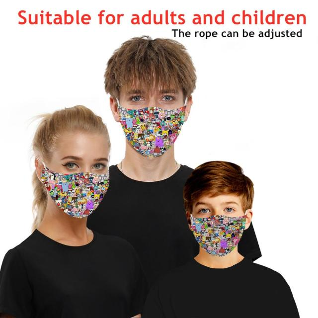 Fashion Reusable 3D Printing PM2.5 Filter Mouth Face Mask Unisex Funny Mouth Muffle Mask Sports Windproof Breathabl Masks Anime 3
