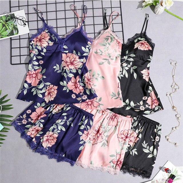 Pajamas Women Pajama Sets Women Sleepwear Lace Summer Babydolls Womens Pajamas Night Suit Silk Like Floral Lingerie Sleepwear