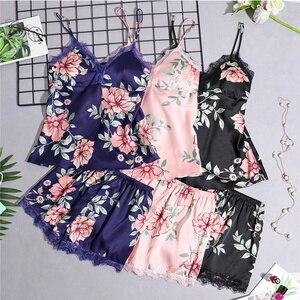 Image 1 - Pyjamas Frauen Pyjama Setzt Frauen Nachtwäsche Spitze Sommer Babydolls Frauen Pyjamas Nacht Anzug Seide Wie Floral Dessous Nachtwäsche