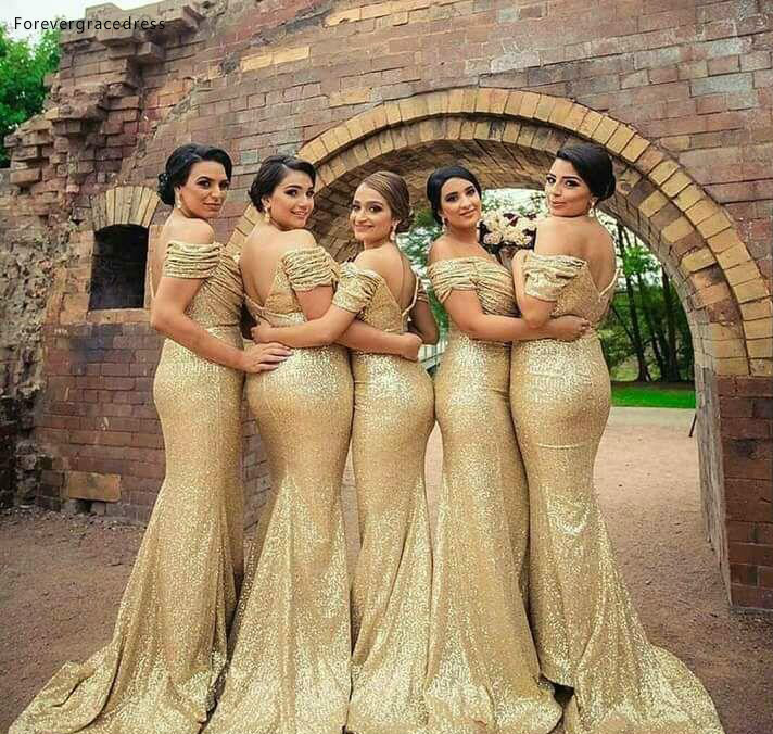 2019 Gold Sequined Bridesmaid Dress Mermaid Off Shoulders Country Garden Formal Wedding Party Guest Maid Of Honor Gown Plus Size