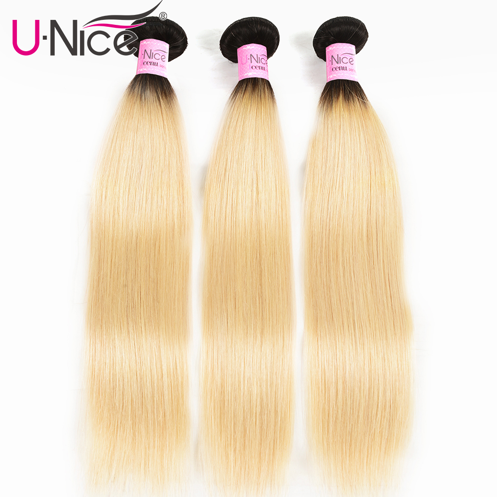 Unice Hair Ombre Malaysian Remy Hair Weave Bundles 1b/613 Color Straight Hair 1/3/4 Bundles 100% Human Hair Weft Free Shipping image
